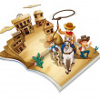 A book with an image of three cowboys - Stock Vector