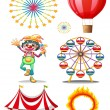 Stock Vector: A carnival with clown