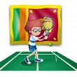 A boy playing tennis in front of the Sri Lanka flag - Stock Vector