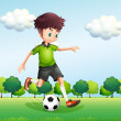 A boy with a green t-shirt playing football — Stock Vector