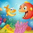 Two fishes with big fangs under the sea — Stock Vector #25508499