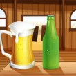 Stock Vector: Beer and bottle of softdrink at table