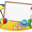 An empty blank board surrounded by things for summer — Stock Vector #25508549