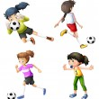 Four girls playing soccer — Stock Vector
