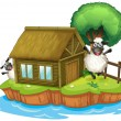 Stock Vector: An island with a native house and two sheeps