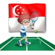 The flag of Singapore at the back of the tennis player - Stok Vektör
