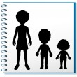 Stock Vector: Notebook with image of three humans