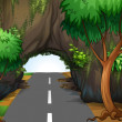 A road under the cave - Stock Vector