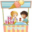 Two young kids at the ice cream stand — Stockvectorbeeld