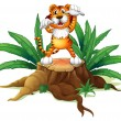 A stump with a tiger - Stock Vector