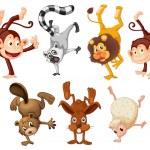 Different animals doing handstands — Stock Vector