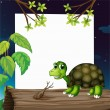 A turtle above the wood with an empty board at the back - Stock Vector