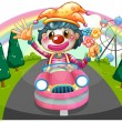 A happy female clown riding on a pink car — Imagen vectorial