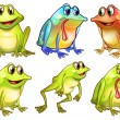 Stock Vector: Six different frogs