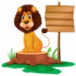 A lion sitting on a stump beside a wooden signboard — Stock Vector
