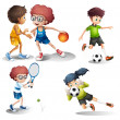 Kids engaging in different sports — Stock Vector