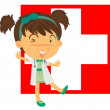 A nurse in front of the Switzerland flag - Stock Vector