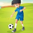 A boy with a blue uniform practicing at the hillside — Stock Vector #25509383