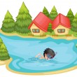 A boy swimming in the pool surrounded with pine trees — Stock Vector
