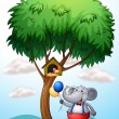 An elephant under the tree — Stockvectorbeeld