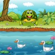 A turtle beside the river with ducks — Stock Vector