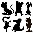 Six silhouettes of wild animals — Stock Vector