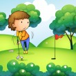 A woman playing golf at the top of the hill — Stock Vector #25509703