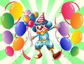 A clown between a group of balloons — Stock Vector