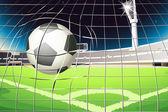 A net with a soccer ball — Stock Vector