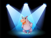 A hippopotamus standing at the stage with spotlights — Stock Vector