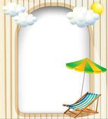 Un modello vuoto ingresso con un ombrello e una panca pieghevole — Vettoriale Stock