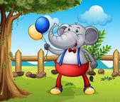 An elephant holding balloons — Stock Vector