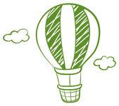 A green hot air balloon — Stock Vector
