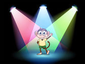 A stage with a male monkey at the center — Stock Vector