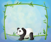A panda with a framed bamboo tree at the back — Stock Vector