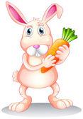 Un conejo gordo con una zanahoria — Vector de stock