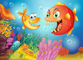 Two fishes with big fangs under the sea — Stock Vector