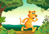 A tiger running along the forest — Vector de stock