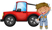 A boy fixing the red jeep — Stock Vector