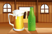 A beer and a bottle of softdrink at the table — Stock Vector
