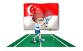 The flag of Singapore at the back of the tennis player — 图库矢量图片