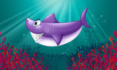 A smiling violet shark under the sea — Stock Vector