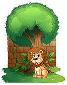 A lion under a big old tree — Stock Vector