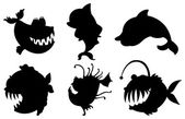 Six silhouettes of fishes with big fangs — Stock Vector