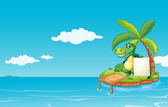 An alligator holding an empty banner — Stock Vector