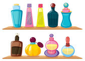 Wooden shelves with different perfumes — Stock Vector