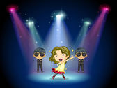 A young singer at the center of the stage — Stock Vector