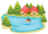 A boy swimming at the river with pine trees — Stock Vector