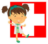 A nurse in front of the Switzerland flag — Stock Vector