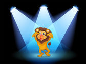 A scary lion at the center of the stage — Stock Vector